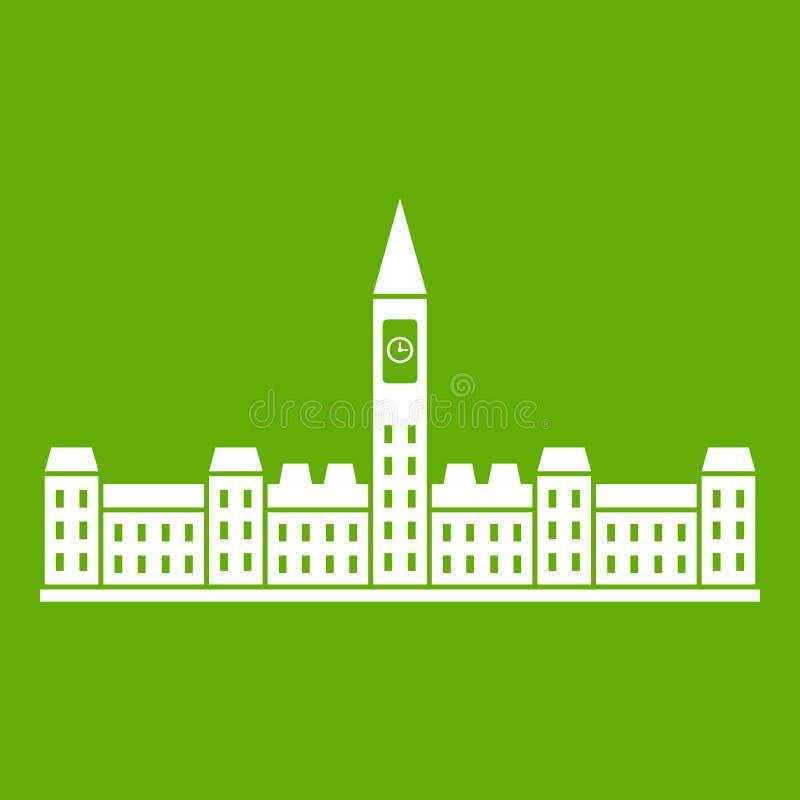 Construção do parlamento do verde do ícone de Canadá ilustração royalty free