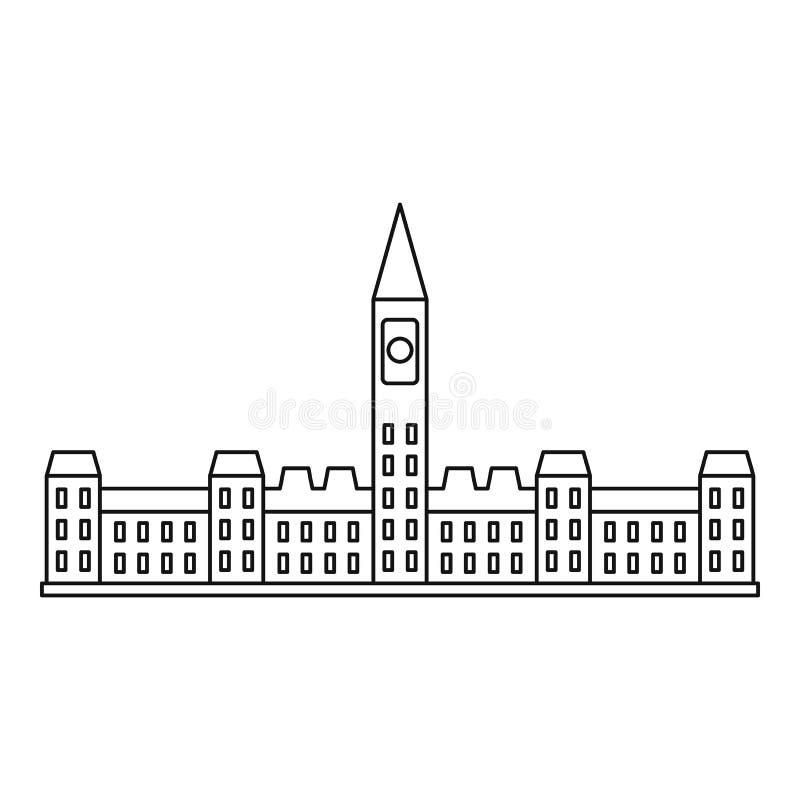 Construção do parlamento no ícone de Ottawa, estilo do esboço ilustração do vetor