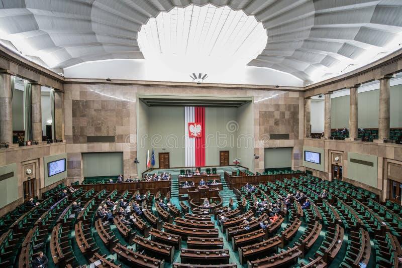 Construção do parlamento no Polônia fotos de stock royalty free