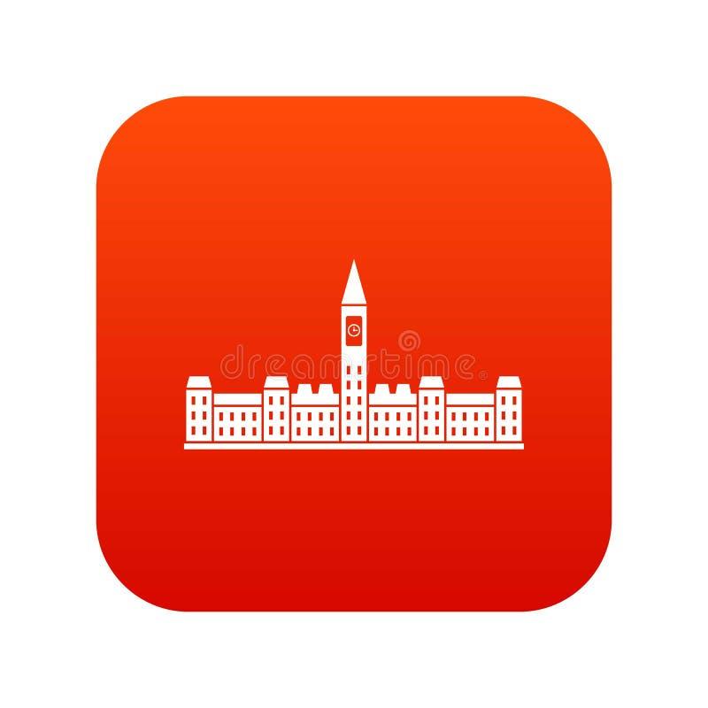 Construção do parlamento do vermelho digital do ícone de Canadá ilustração stock