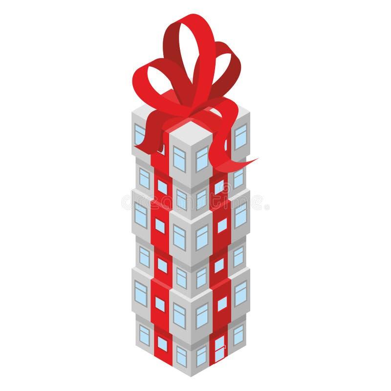 Construção do presente com curva vermelha Prédio de escritórios decorado ilustração do vetor