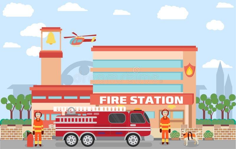 Construção do quartel dos bombeiros ilustração stock