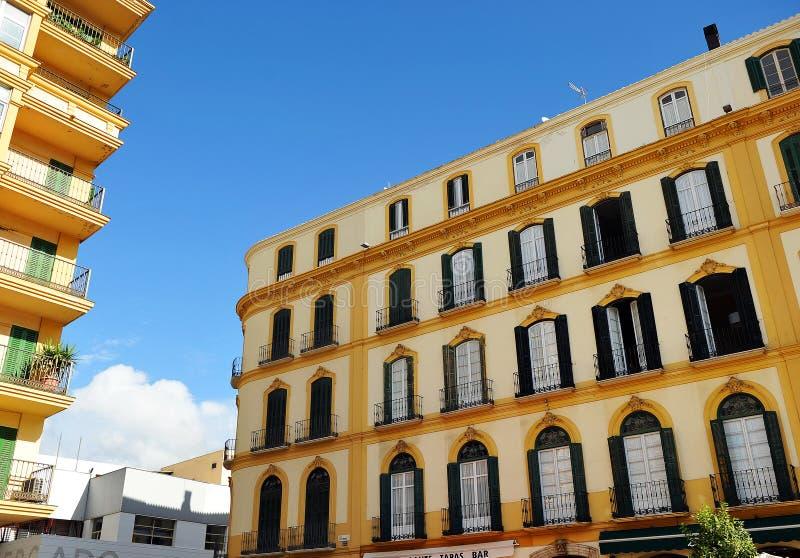 Construção do século XIX na plaza de la Merced, Malaga, a Andaluzia, Espanha fotos de stock royalty free