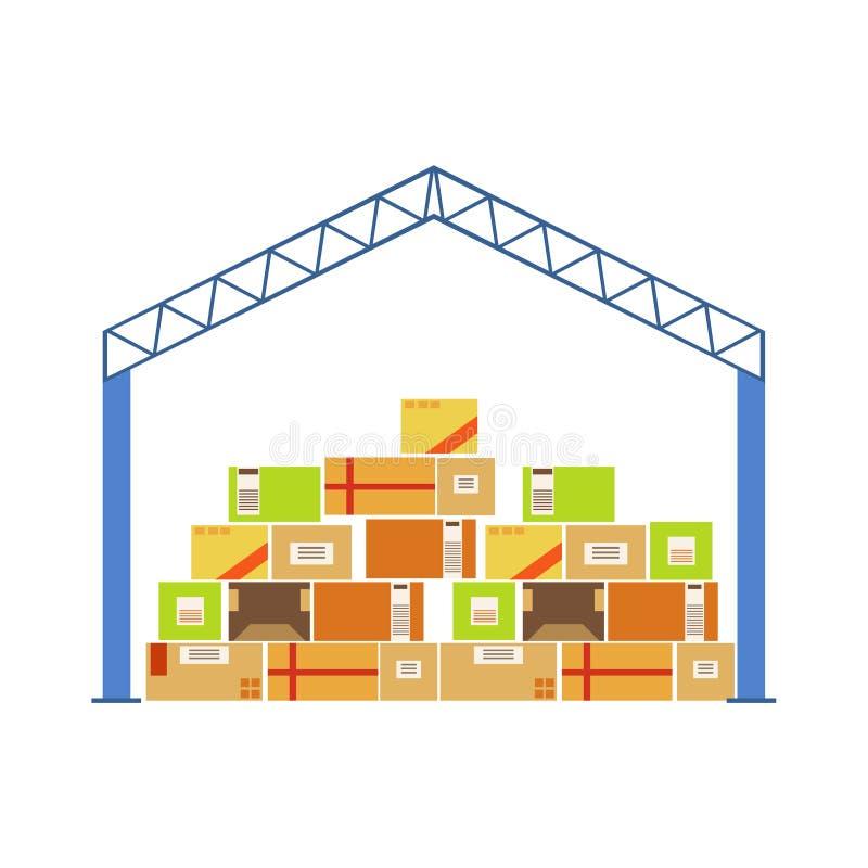 Construção do telhado do metal da construção do armazém com os pacotes acima empilhados da caixa de papel armazenados embaixo ilustração royalty free