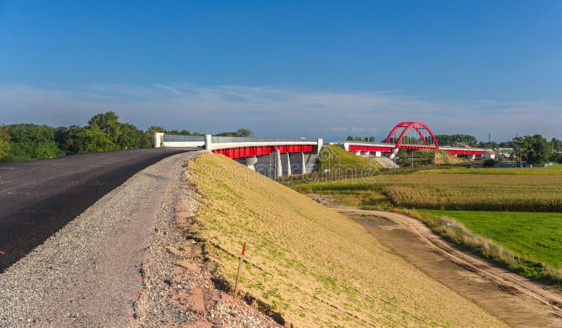 Construção do trilho de alta velocidade LGV Est perto de Strasbourg, França foto de stock