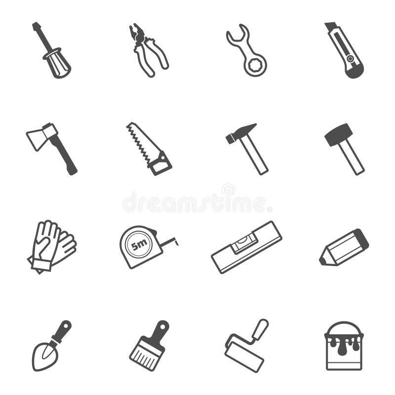 Construção do vetor e grupo do ícone da ferramenta do reparo imagens de stock