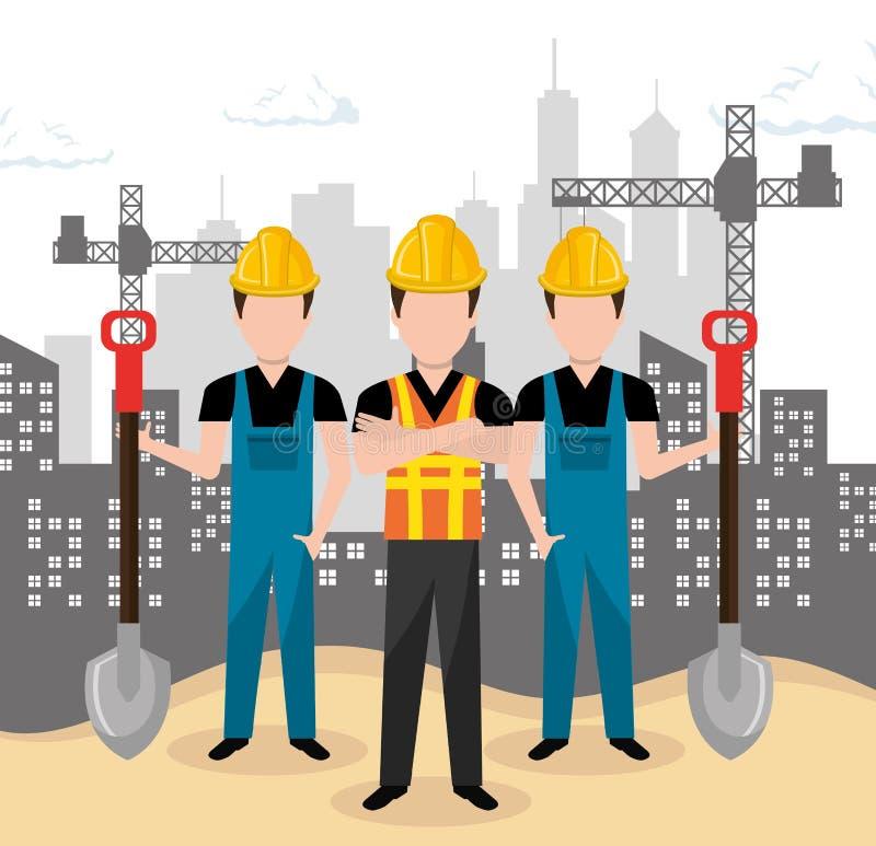 Construção dos trabalhos de equipa no local ilustração royalty free