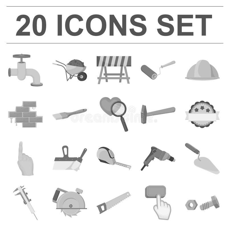 Construção e ícones monocromáticos da arquitetura na coleção do grupo para o projeto Símbolo do vetor da construção e da institui ilustração royalty free