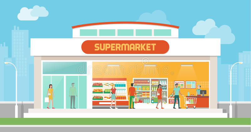 Construção e interior do supermercado ilustração stock