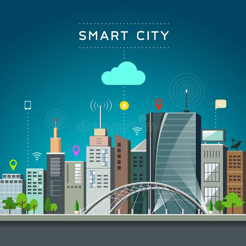 Construção e marco modernos, comunicações espertas da cidade ilustração stock