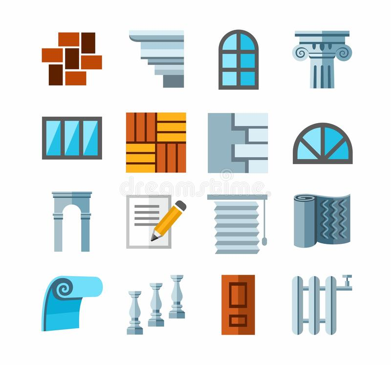 A construção e o reparo, materiais de terminação, colorem ícones ilustração do vetor