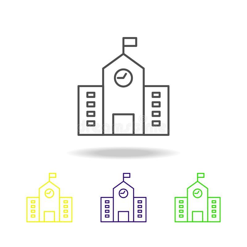 Construção, elemento colorido dos ícones do esboço da escola da ilustração da arquitetura Os sinais e os símbolos esboçam o ícone ilustração royalty free