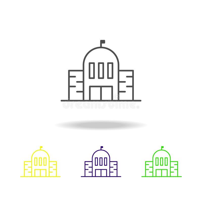 Construção, elemento colorido dos ícones do esboço da escola da ilustração da arquitetura Os sinais e os símbolos esboçam o ícone ilustração do vetor
