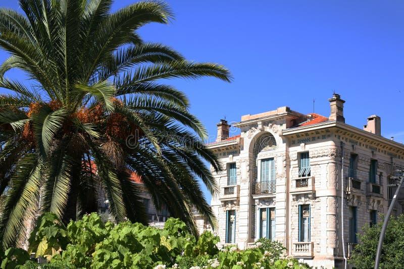 Construção em França agradável atrás da palmeira fotos de stock