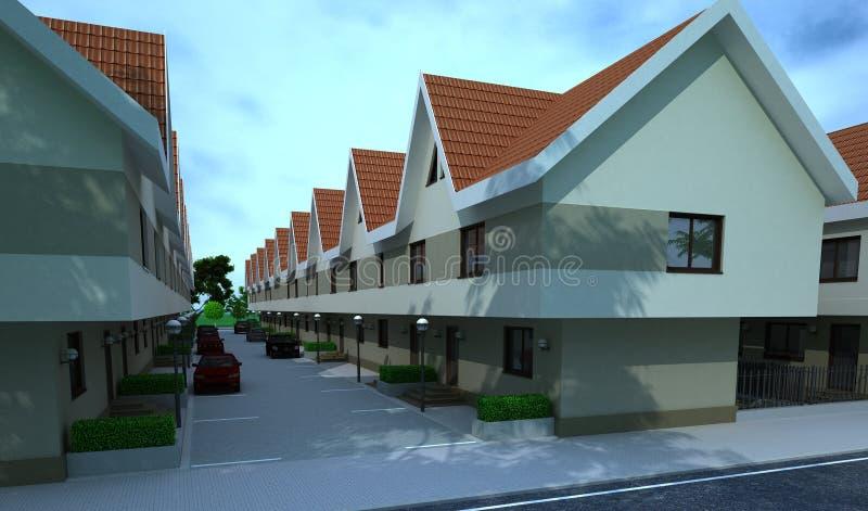 Construção exterior, rendição do projeto, arquitetura ilustração stock