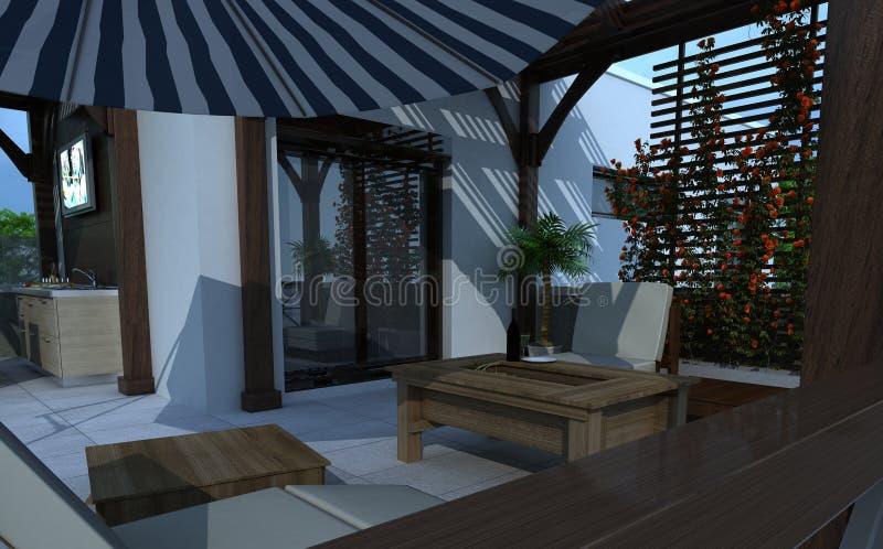 Construção exterior, rendição do projeto, arquitetura ilustração royalty free