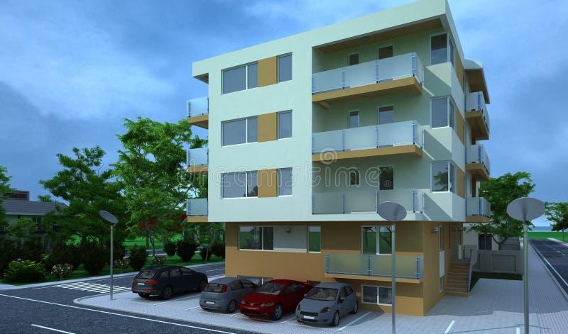 Construção exterior, rendição do projeto, arquitetura imagem de stock