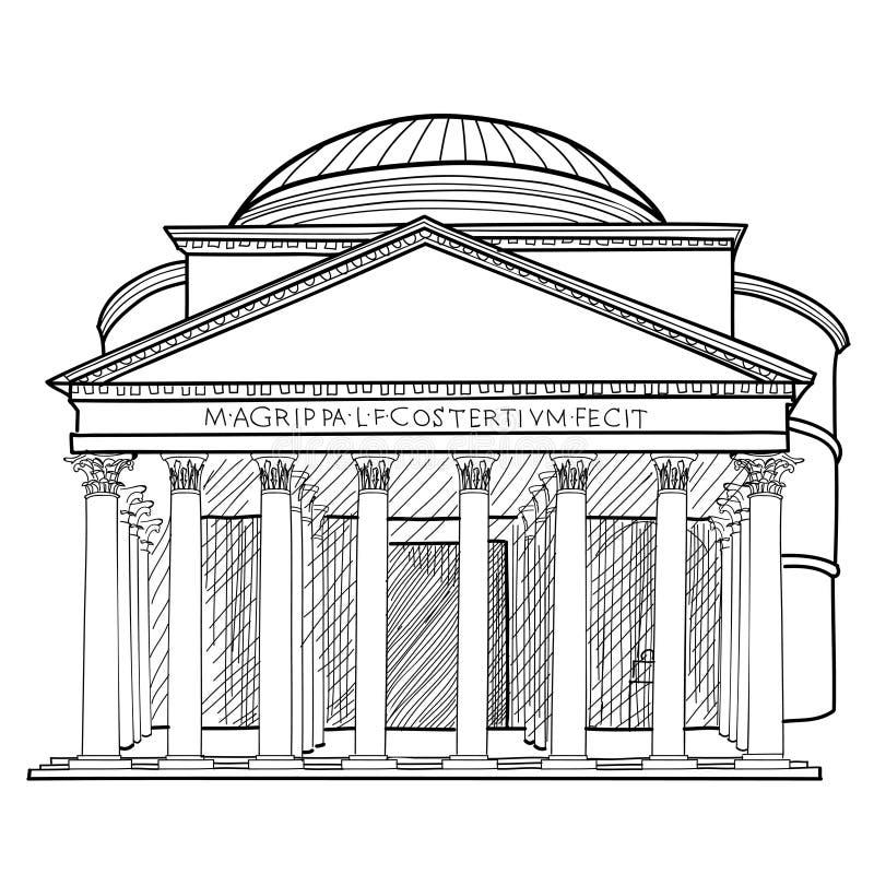 Construção famosa de Roma Sktch isolado Panteon italiano IL do marco ilustração royalty free