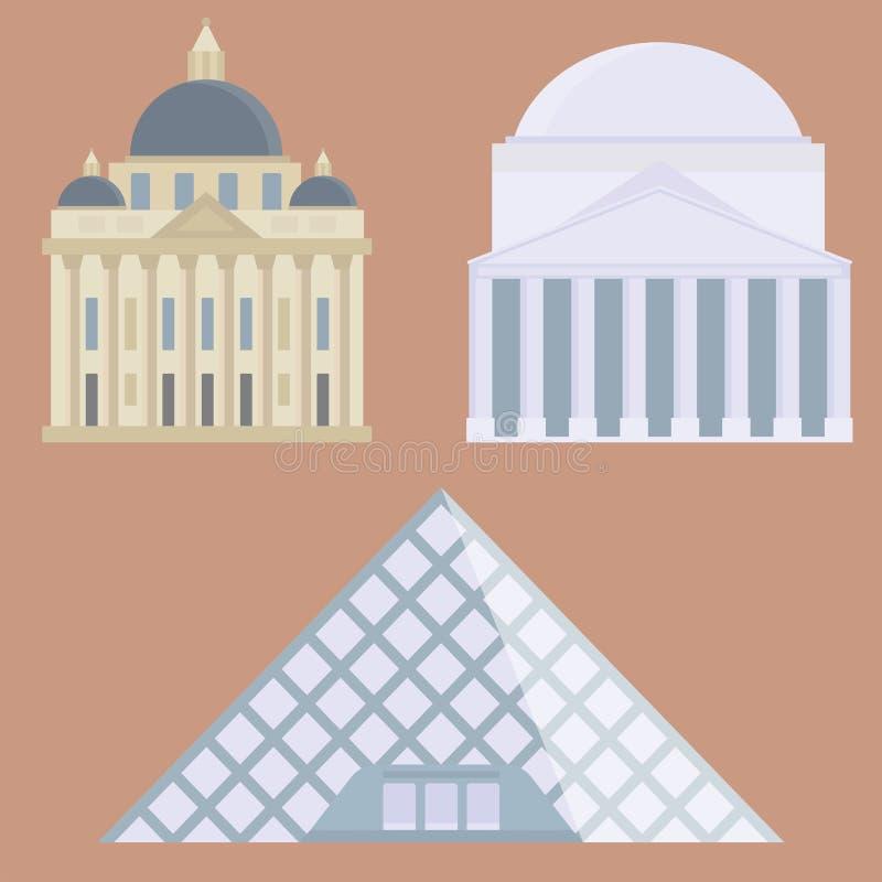 Construção famosa do projeto do curso do turismo da viagem do Euro e ilustração internacional do vetor da euro- aventura ilustração do vetor