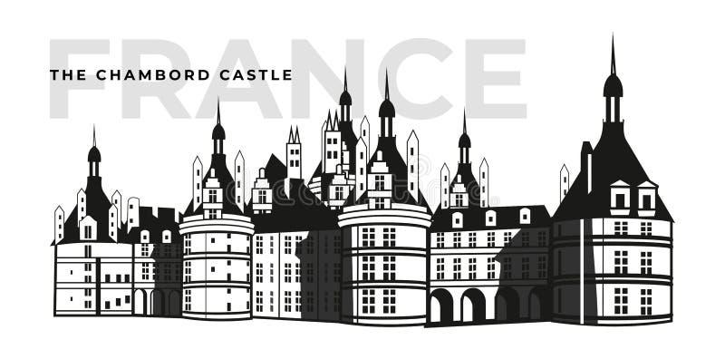 Construção francesa do castelo de Chambord do castelo Arquitetura ou palácio medieval em França, na fortaleza velha ou na opinião ilustração royalty free