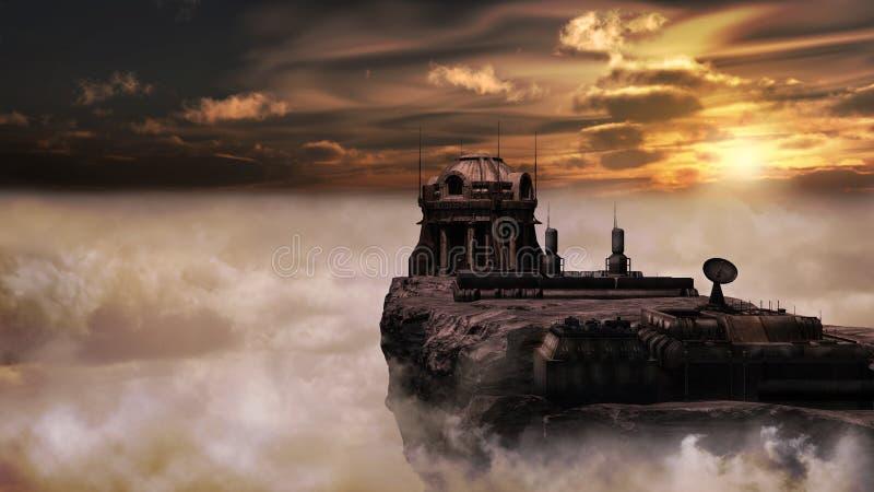 Construção futurista sobre as nuvens ilustração royalty free