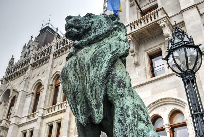 Construção húngara do parlamento - Budapest, Hungria foto de stock royalty free