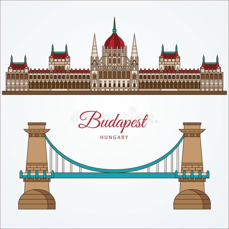 Construção húngara do parlamento e a ponte Chain O símbolo de Budapest, Hungria ilustração royalty free
