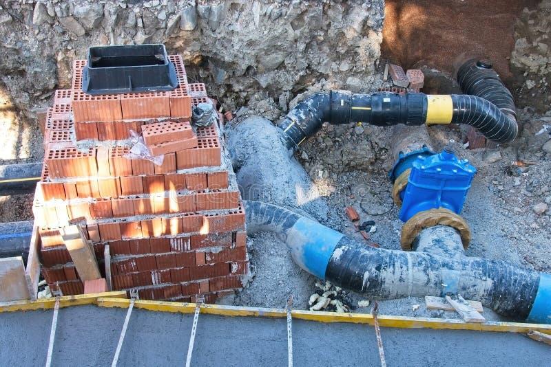 Construção hidráulica, reconstrução de esgotos imagens de stock royalty free