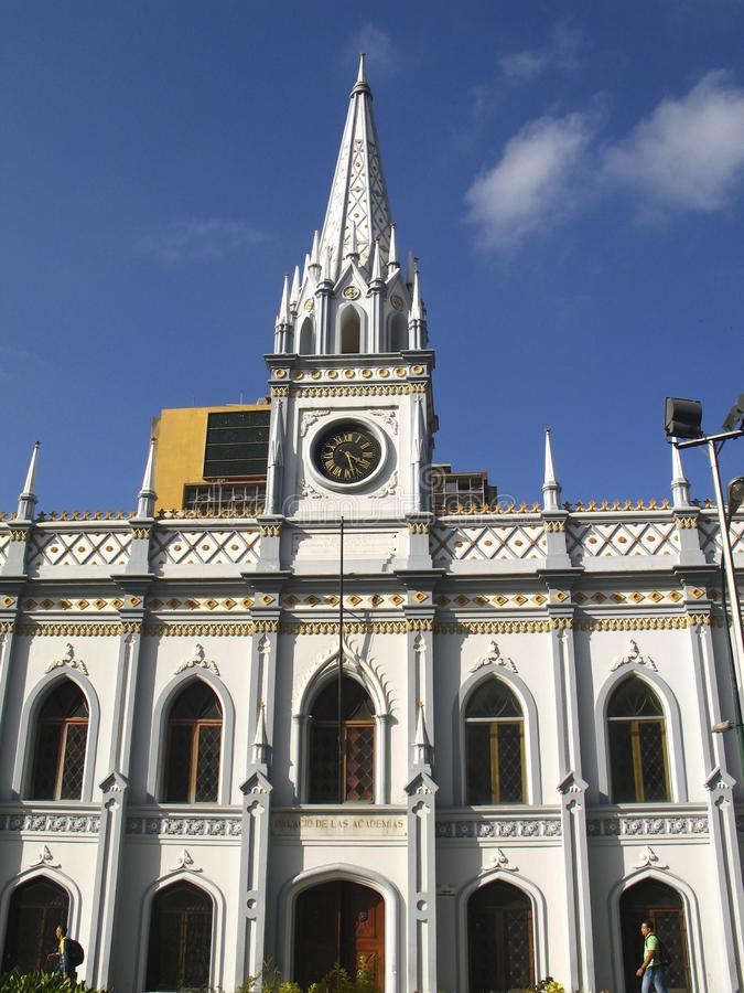 Construção histórica da Venezuela do centro de Caracas do palácio acadêmico fotos de stock