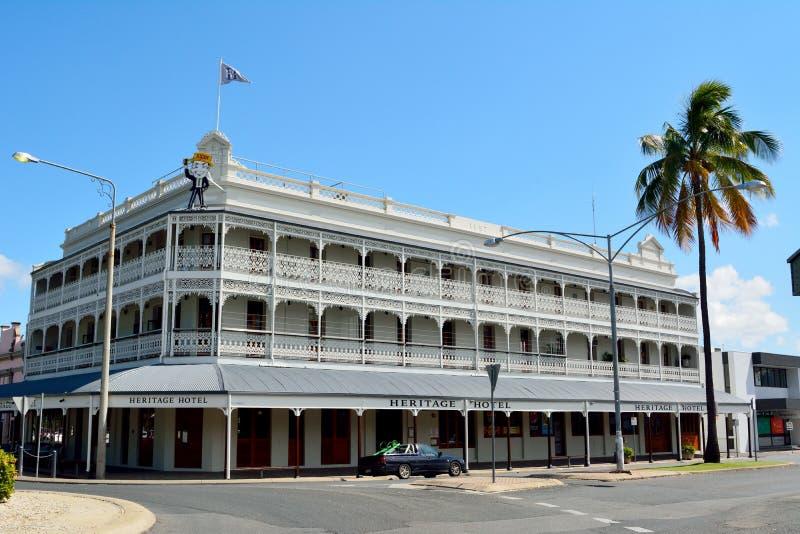 Construção histórica do hotel da herança em Rockhampton, Queensland, fotos de stock