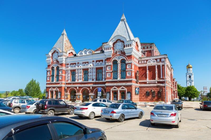 Construção histórica do teatro do drama no dia ensolarado do verão no Samara imagem de stock royalty free