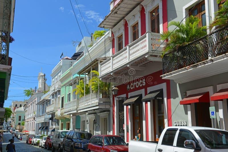 Construção histórica em San Juan velho, Porto Rico fotografia de stock