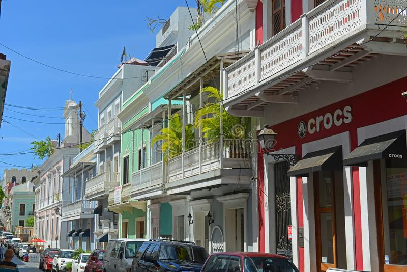 Construção histórica em San Juan velho, Porto Rico imagem de stock
