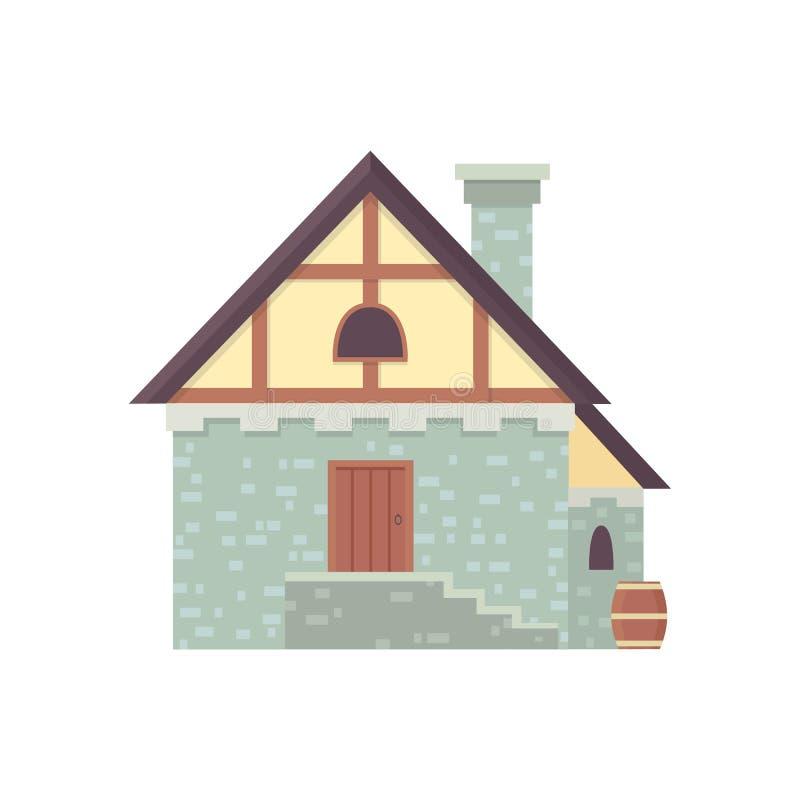 Construção histórica medieval, ilustração velha do vetor da casa da cidade ilustração do vetor