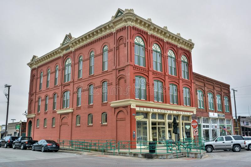 Construção histórica que abriga Ellis County Museum em Waxahachie, TX imagens de stock