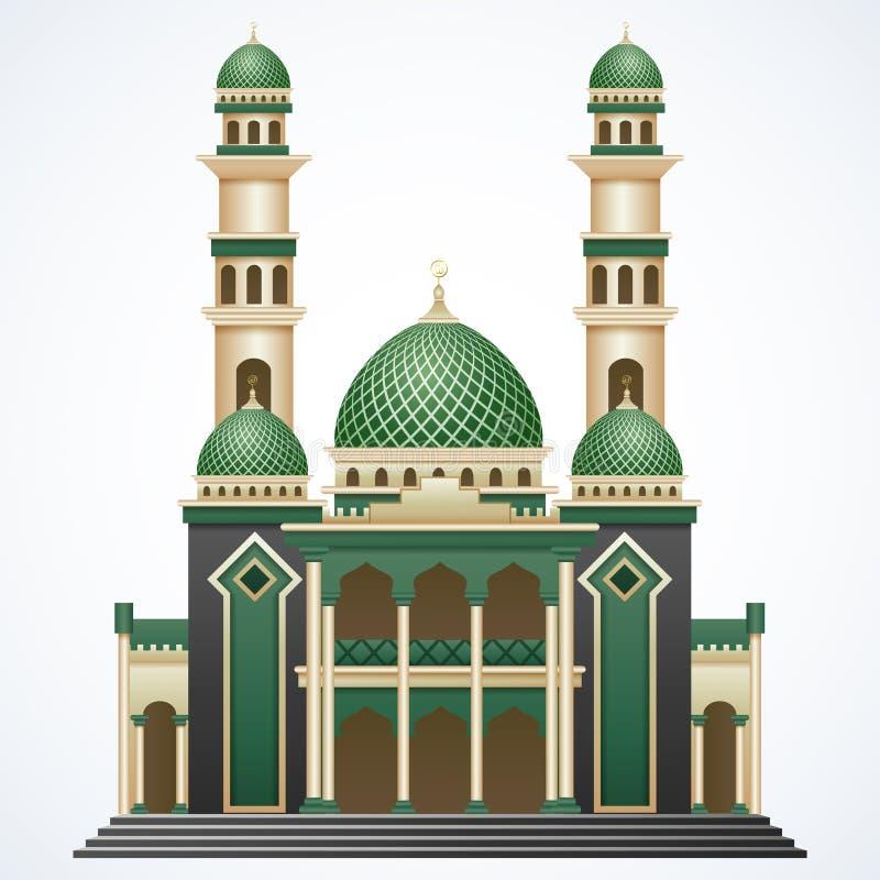 Construção islâmica da mesquita com Green Dome e torre dois isolada no fundo branco ilustração do vetor