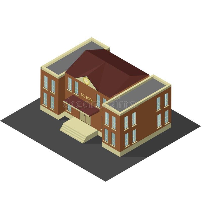Construção isométrica da escola ou da universidade imagem de stock