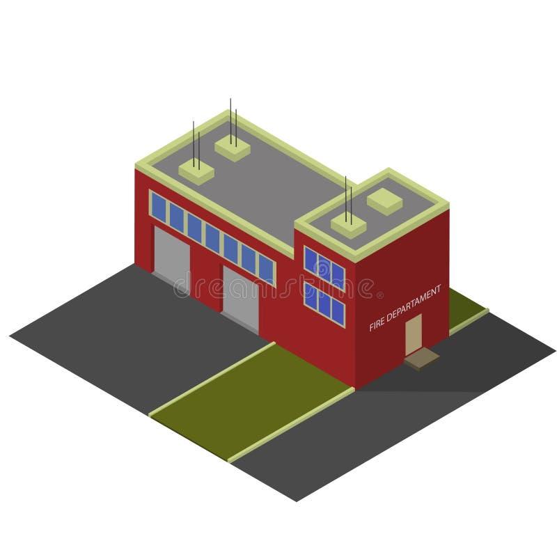 Construção isométrica da estação dos sapadores-bombeiros imagem de stock