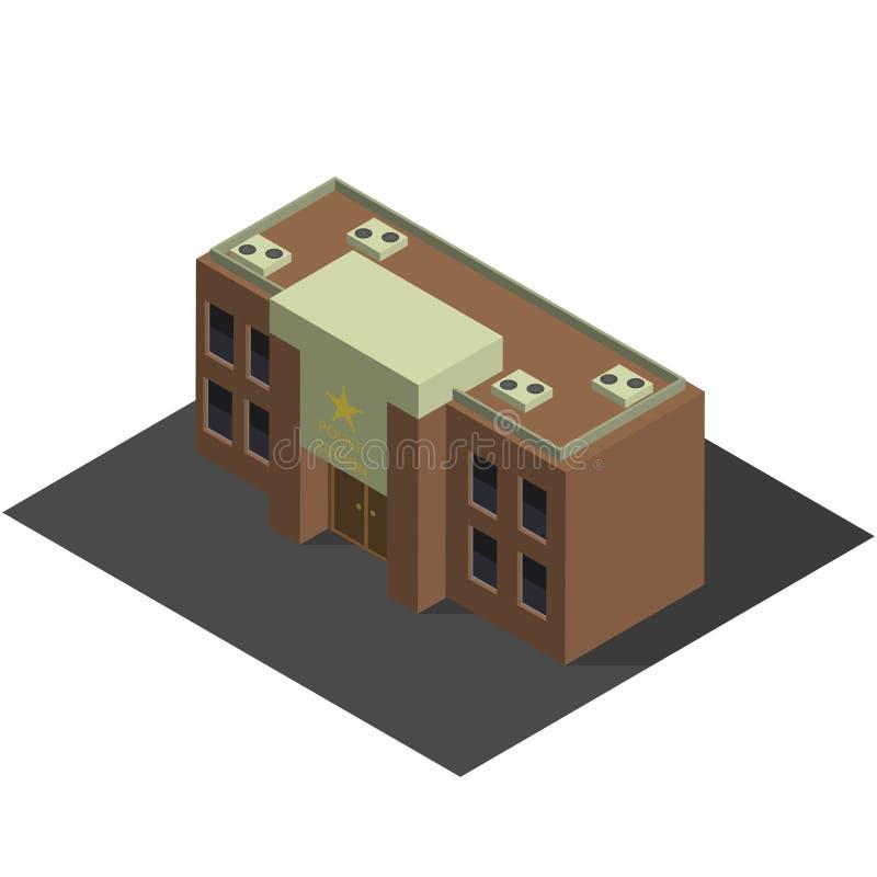Construção isométrica da polícia imagens de stock