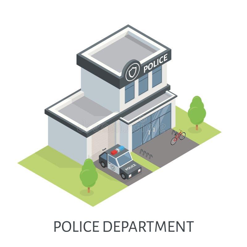 Construção isométrica do departamento da polícia Carro-patrulha ilustração stock