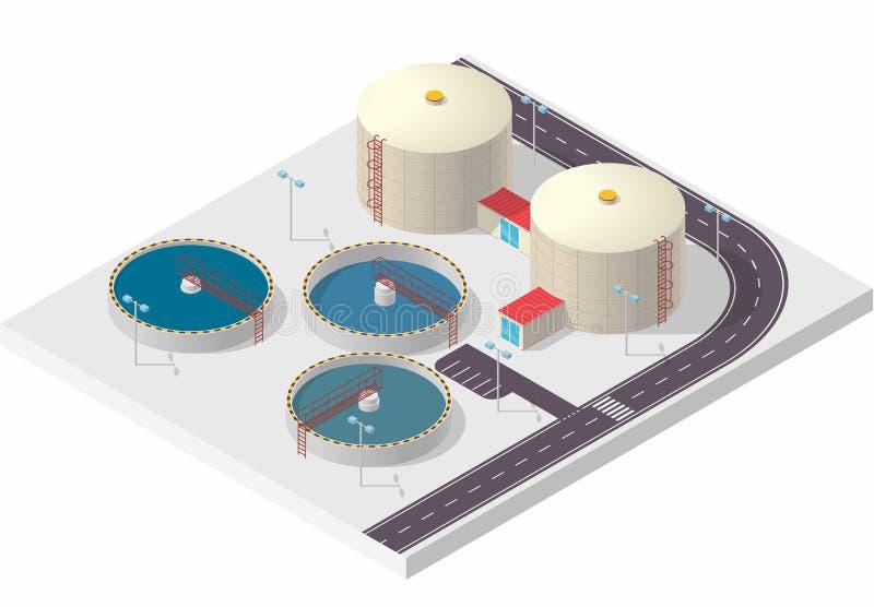 Construção isométrica do tratamento da água, purificador grande da bactéria no branco ilustração stock