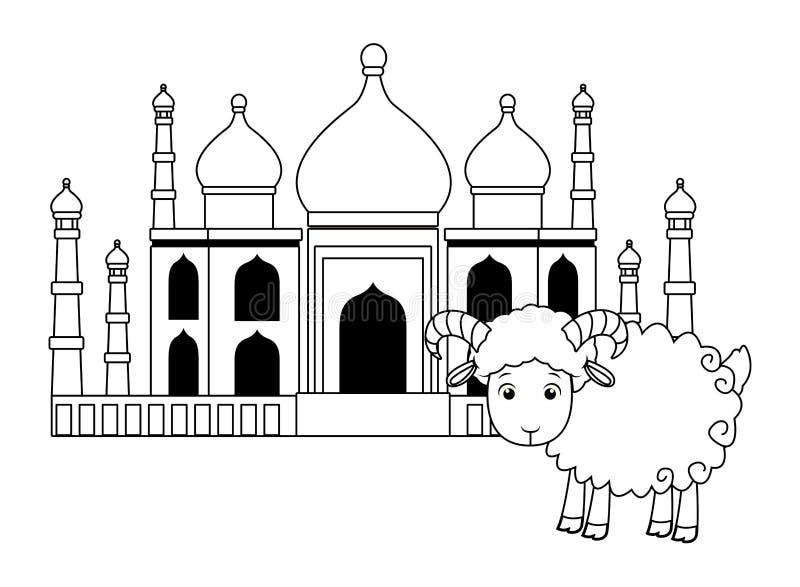 Construção mahal de Taj e desenhos animados da cabra isolados em preto e branco ilustração stock