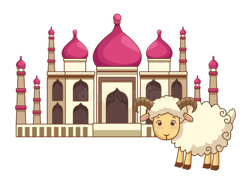Construção mahal de Taj e desenhos animados da cabra isolados ilustração royalty free