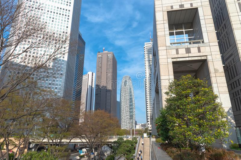 Construção metropolitana do governo do Tóquio & de negócio de Shinjuku construções do marco foto de stock