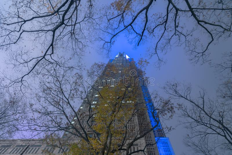 Construção metropolitana do governo do Tóquio na noite, Shinjuku, Tóquio, Japão fotografia de stock