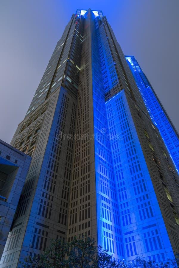 Construção metropolitana do governo do Tóquio na noite, Shinjuku, Tóquio, Japão fotos de stock royalty free