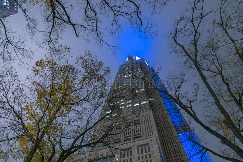 Construção metropolitana do governo do Tóquio na noite, Shinjuku, Tóquio, Japão imagens de stock royalty free