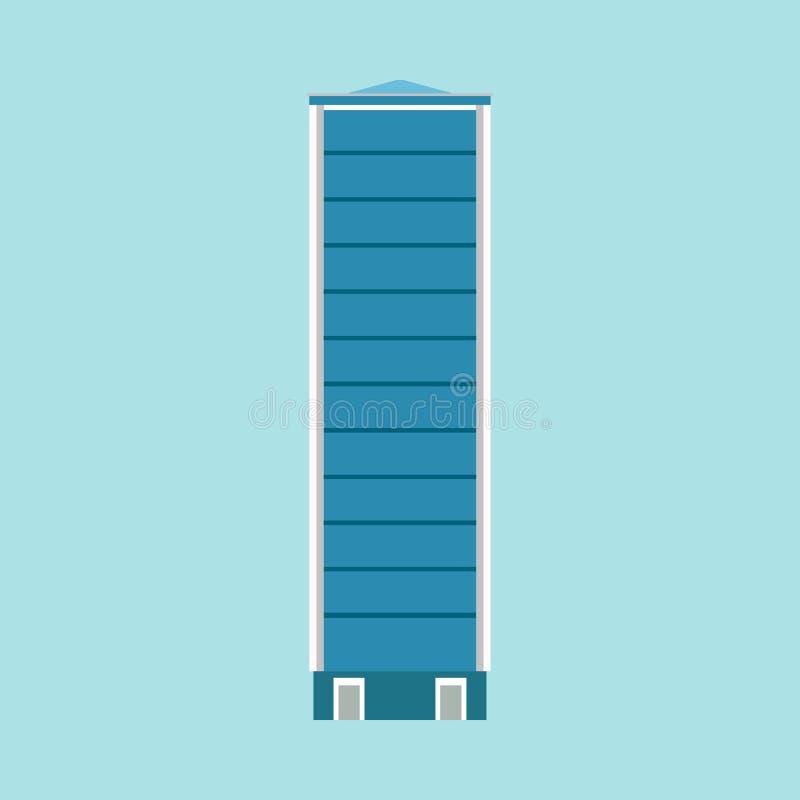 Construção moderna de construção da arquitetura do ícone do vetor do escritório para negócios da cidade Arranha-céus exterior urb ilustração royalty free