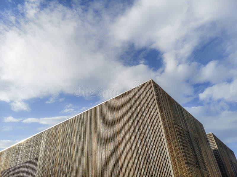 Construção moderna de madeira com céu surpreendente, arquitetura contemporânea com linhas refinadas e projeto minimalista fotos de stock