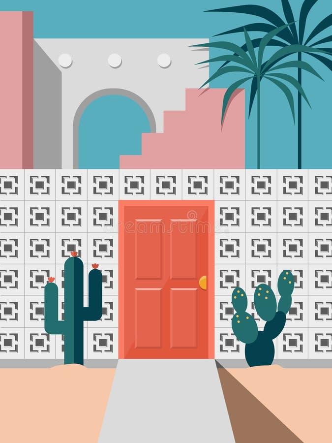 Construção moderna de Pastel no século médio confrontada com porta vermelha e coqueiros de cacto ilustração do vetor